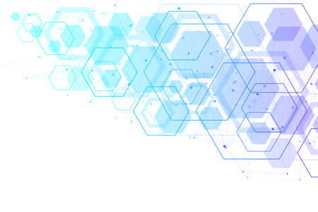 Abstract medical background DNA research, molecule, genetics, genome, DNA chain. Genetic analysis art concept with hexagons, lines, dots. Biotechnology network concept molecule, illustration