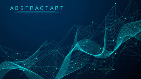 Technology abstract lines and dots connection background. Connection digital data and big data concept. Digital data visualization. Vector illustration