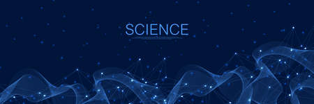 Abstract digital network connections blue background. Artificial intelligence and engineering technology concept. Global network Big Data, Lines plexus, minimal array. Vector illustration. Illusztráció