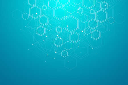 Abstract medical background. DNA research. Hexagonal structure molecule and communication background for medicine, science, technology, illustration. 免版税图像