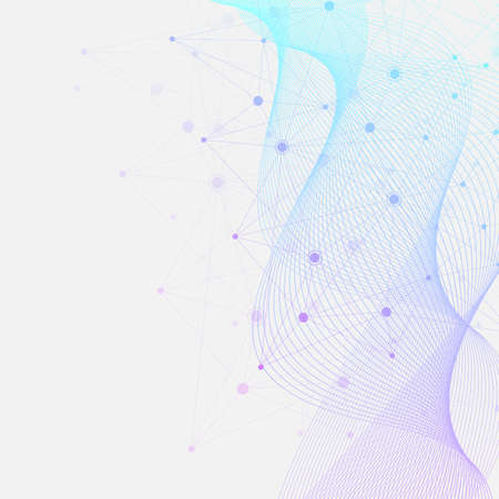 Abstract plexus background with connected lines and dots. Wave flow. Plexus geometric effect Big data with compounds. Lines plexus, minimal array. Digital data visualization, illustration 免版税图像