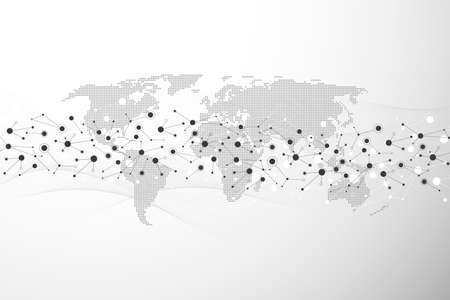 Global network connection concept. Big data visualization. Social network communication in the global computer networks. Internet technology. Business. Science. illustration 免版税图像