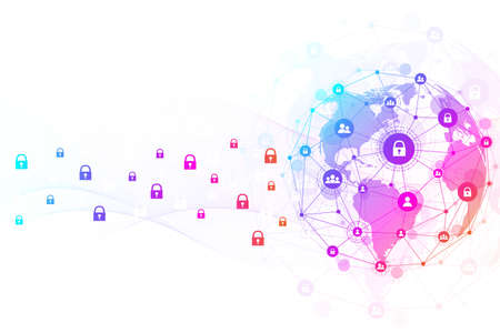 Big data visualization. Social network or business analytics representation. Abstract graphics. Futuristic infographic illustration. 免版税图像