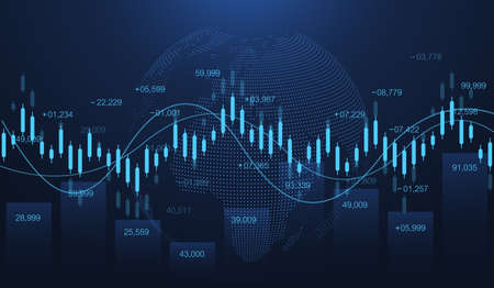 Stock market or forex trading graph in futuristic concept for financial investment or economic trends business idea. Financial trade concept. Stock market and exchange Candle stick graph chart vector. 免版税图像 - 165929383