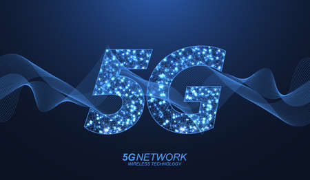 5G network wireless technology concept. 5G web banner icon for business and technology, signal, speed, network, big data, technology, IoT and traffic icons. 5G symbol wave flow vector