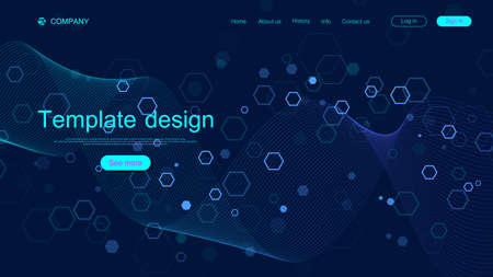 Landing page design template for science, medicine, technologies, business, education with hexagons and colorful dynamic waves. Modern landing page design for websites or app vector