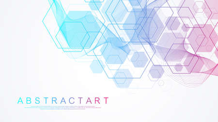 Health care and medical pattern innovation concept science background design. Abstract geometric hexagons shape medicine and science background. Vector illustration. 矢量图像