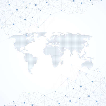 Global network connections with points and lines. Wireframe background. Abstract connection structure. Polygonal space background, illustration 免版税图像