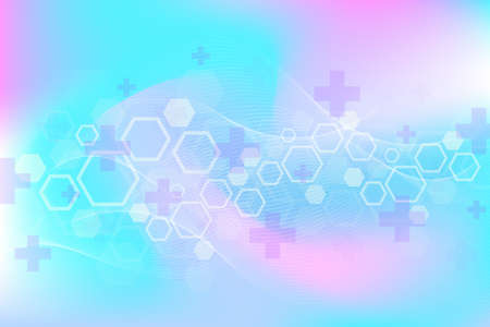 Abstract medical background DNA research, molecule, genetics, genome, DNA chain. Genetic analysis art concept with hexagons, lines, dots. Biotechnology network concept molecule, illustration 免版税图像 - 167896824