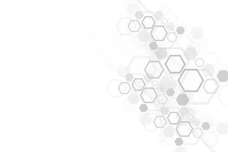 Abstract medical background DNA research, molecule, genetics, genome, DNA chain. Genetic analysis art concept with hex, hexagons, lines, dots. Biotechnology network concept molecule, illustration