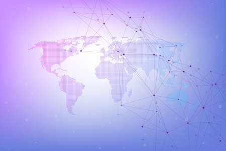 Global network connections with world map. Internet connection background. Abstract connection structure. Polygonal space background, illustration.
