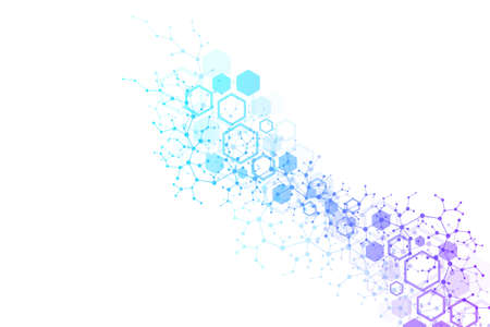 Scientific molecule background for medicine, science, technology, chemistry. Wallpaper or banner with a DNA molecules. geometric dynamic illustration.