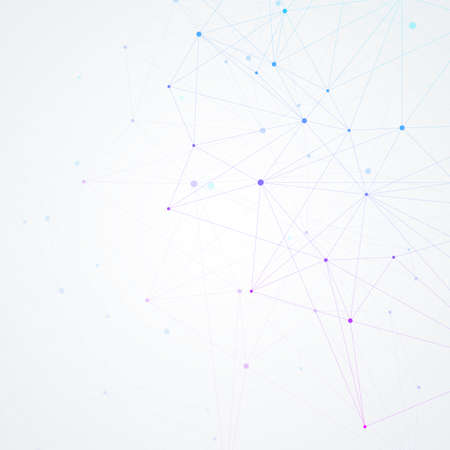 Geometric connected background lines and dots. Simple technology abstract graphic background design, illustration.