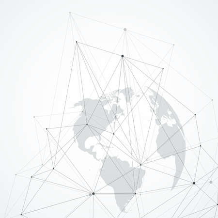 Global network connections with points and lines. Wireframe background. Abstract connection structure. Polygonal space background, illustration Banque d'images