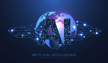 Artificial intelligence and machine learning concept futuristic vector symbol. Artificial intelligence wireless technology design. Neural networks and modern technologies concepts
