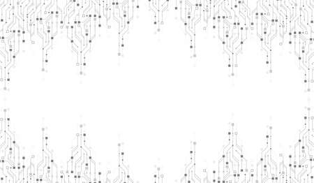 Modern technology circuit board texture background design. Waves flow. Quantum explosion technology. Quantum computer technologies concept. Futuristic blue circuit board background vector motherboard Illustration