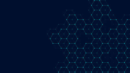 Technology abstract lines and dots connect background with hexagons. Hexagon grid. Hexagons connection digital data and big data concept. Hex digital data visualization. Vector illustration.