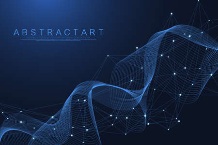 Technology abstract lines and dots connection background. Connection digital data and big data concept. Digital data visualization. Waves flow. Quantum explosion technology. Vector illustration. Illustration