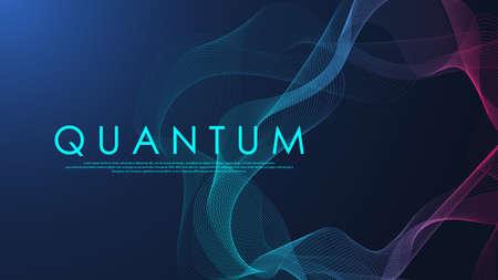 Wave flow of quantum computer technology. Quantum innovation technology. Artificial intelligence. Digital big data visualization. Quantum computer tech background. Vector illustration