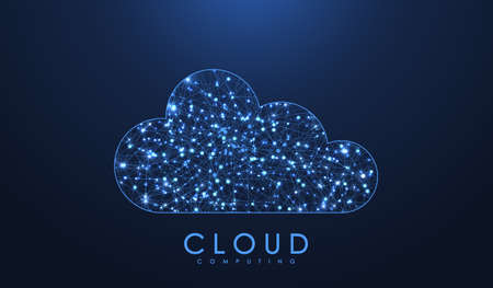 Cloud computing technology concept. Polygonal wireframe cloud storage sign with dots and lines. Digital computing technology background. Data protected exchange. Vector illustration