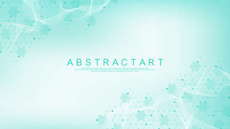 Molecular abstract structure and genetic engineering, healthcare and medicine background. Scientific research background. Wave flow, innovation pattern. Vector illustration.