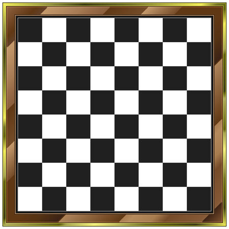 Chess board with wooden and gold frame