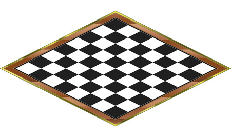 Isometric Chess board with wooden and gold frame