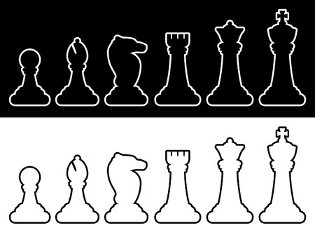 Les pièces d'échecs contours Banque d'images - 3937033