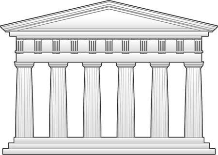 ギリシャの寺院、ドリス式オーダー  イラスト・ベクター素材