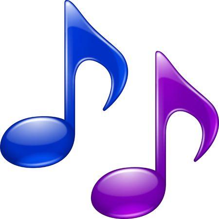 Glanzend muziek notities, blauw en paars Stockfoto