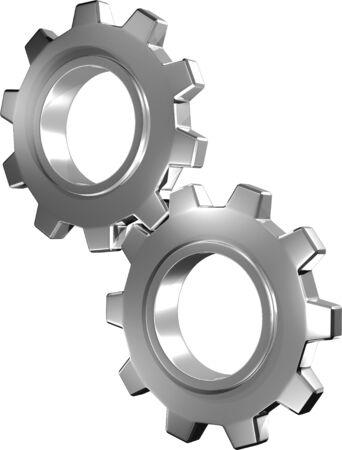 3D Metallic Gears In Motion