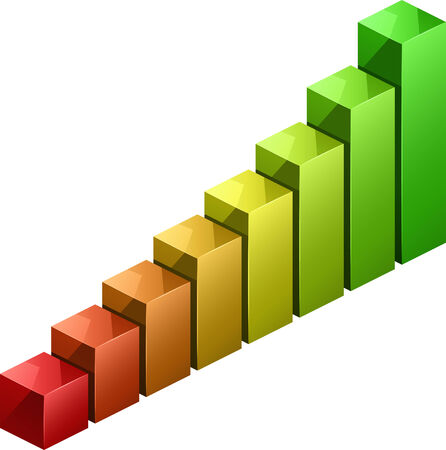 Bar graph vector moving from red to green Vector