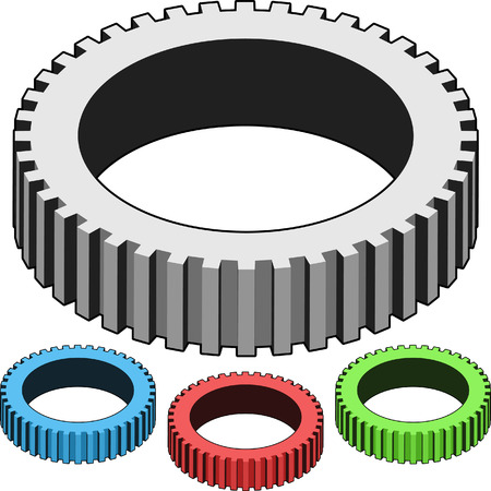 gears in blue, red, green and gray