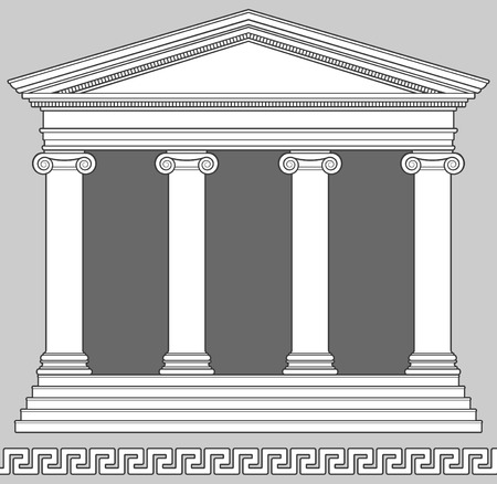roman column: Ionic Temple with Greek Key Pattern Illustration