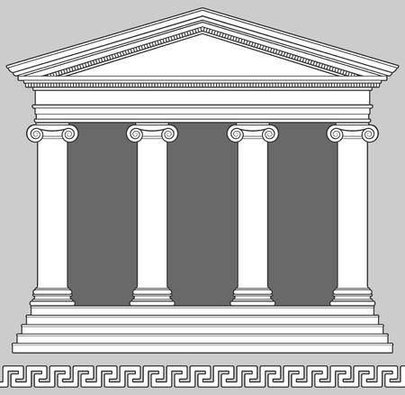 tempels: Ionische tempel met Griekse sleutel patroon