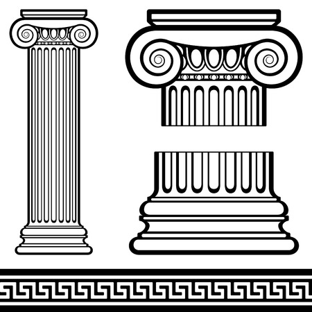 Ionic Column with Greek Pattern