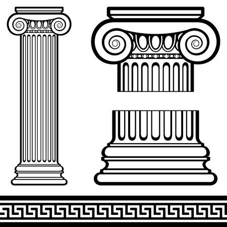 Jonowych kolumny z greckim deseń