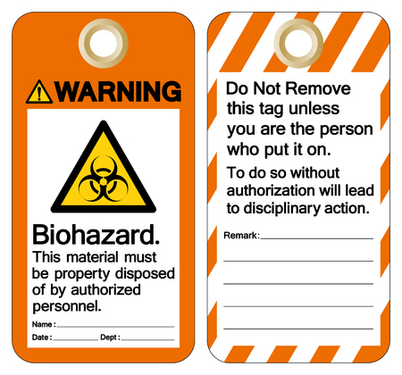 Warning Bio-hazard This Material Must Be Property Disposed Of By Authorized Personnel Symbol Sign, Vector Illustration, Isolate On White Background Label .EPS10