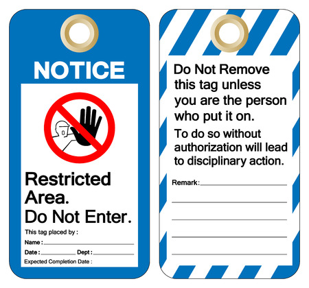 Notice Restricted Area Do Not Enter Tag Template Label Symbol Sign, Vector Illustration, Isolate On White Background. EPS10