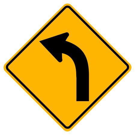 Panneau de signalisation de circulation gauche incurvé, illustration vectorielle, isoler sur fond blanc, symboles, icône. EPS10