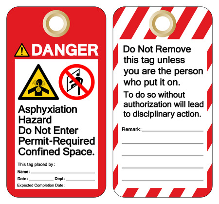 Danger Asphyxiation Hazard Do Not Enter Permit-Required Confined Space Tag Template Label Symbol Sign, Vector Illustration, Isolate On White Background. EPS10 Çizim