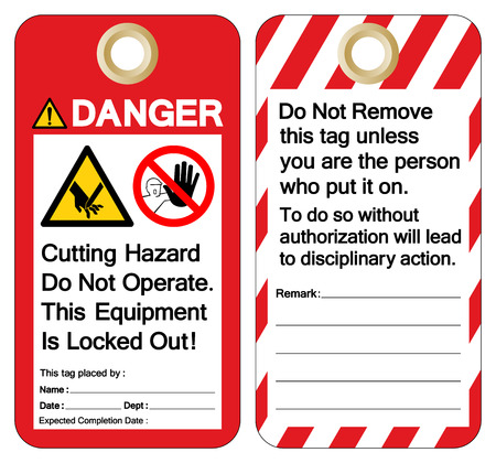 Danger Cutting Hazard Do Not Operate This Equipment Is Locked Out Symbol Sign, Vector Illustration, Isolate On White Background Label. EPS10 向量圖像