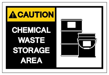 Caution Chemical Waste Storage Area Symbol Sign ,Vector Illustration, Isolate On White Background Label. EPS10 向量圖像