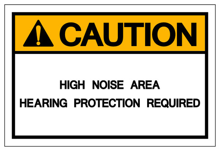 Caution High Noise Area Hearing Protection Required Symbol ,Vector Illustration, Isolate white Background Icon .EPS10