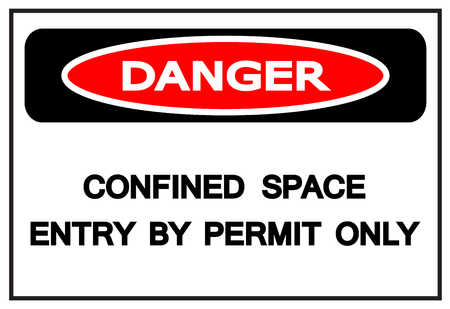 Danger Confined Space Entry By Permit Only Symbol Sign,Vector Illustration, Isolated On White Background Label. EPS10