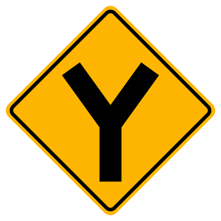 Y -Junction Traffic Road Sign,Vector Illustration, Isolate On White Background Icon. EPS10 Çizim