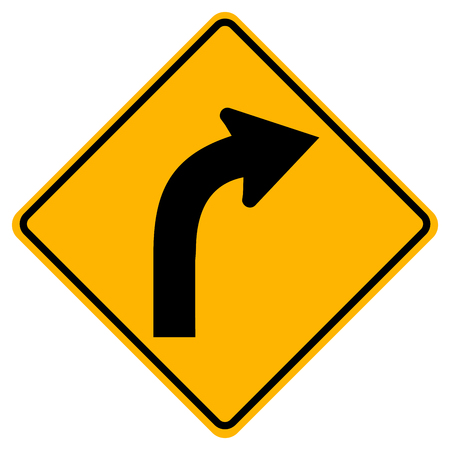 Curved Right Traffic Road Sign, Vector Illustration, Isolate On White Background,Symbols, Icon. EPS10