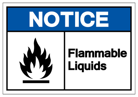 Notice Flammable Liquids Symbol Sign, Vector Illustration, Isolate On White Background Label .EPS10 Vectores