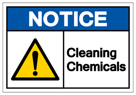 Notice Cleaning Chemicals Symbol Sign, Vector Illustration, Isolate On White Background Label .EPS10  イラスト・ベクター素材