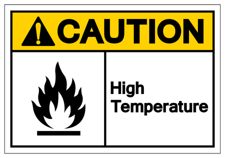 Caution High Temperature Symbol Sign, Vector Illustration, Isolate On White Background Label. EPS10 Stock Vector - 124143055